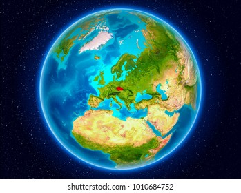 Czech republic in red from Earthâ??s orbit. 3D illustration. Elements of this image furnished by NASA.