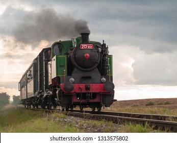 Nučice, Czech republic - September 21 2008: A steam train on a nostalgic ride celebrating an anniversary of industrial Kladno-Nučice railway.