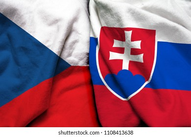 Czech Republic and Slovakia flag on cloth texture