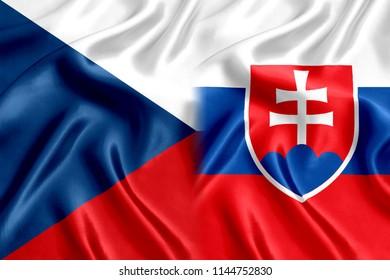 Czech Republic and Slovakia flag of silk