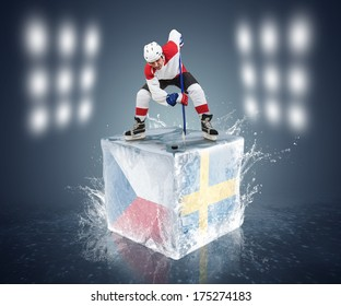 Czech Republic - Sweden game. Face-off player on the ice cube.