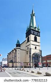 CZECH REPUBLIC, USTI NAD LABEM - May 18, 2017: Church of the Assumption of the Virgin Mary, Usti nad Labem, Czech republic.