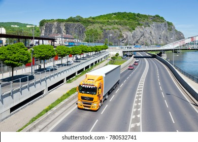 CZECH REPUBLIC, USTI NAD LABEM - May 18, 2017: Pristavni main road, Elbe river embankment, Usti nad Labem, North Bohemia, Czech republic