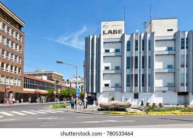 CZECH REPUBLIC, USTI NAD LABEM - May 18, 2017: Shopping complex Labe - Elbe from 1967, Usti nad Labem,  north Bohemia, Czech republic