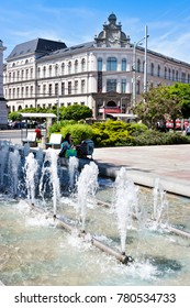 CZECH REPUBLIC, USTI NAD LABEM - May 18, 2017: neo-renaissance Town Museum and water fountain, Lidicke square, Usti nad Labem, North Bohemia, Czech republic