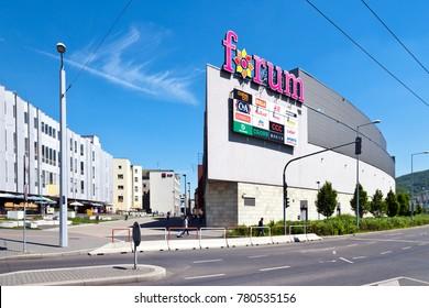 CZECH REPUBLIC, USTI NAD LABEM - May 18, 2017: new Shopping and commerzial complex Forum, Usti nad Labem, North Bohemia, Czech republic