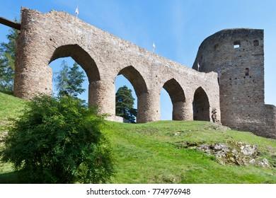 CZECH REPUBLIC, VELHARTICE - SEP 24, 2016: ruins of medieval gothic castle Velhartice near Klatovy, Bohemian Forest (Sumava), South Bohemia, Czech republic - national cultural landmark