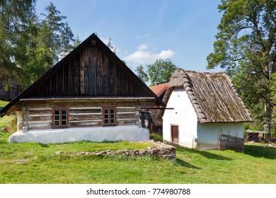 CZECH REPUBLIC, VELHARTICE - SEP 24, 2016: open-air museum of folk architecture, castle Velhatice near Klatovy, Bohemian Forest (Sumava), Czech republic - traditional rural cottages