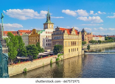 Czech Republic. View of Prague old town and Vltava river in summer