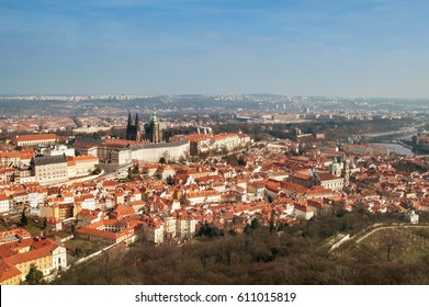 Czech Republic, view of the River and Prague Castle