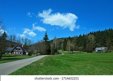 Czech Republic - view of wooden house in Antonin valley in spring near town Svoboda - Shutterstock ID 1714652251