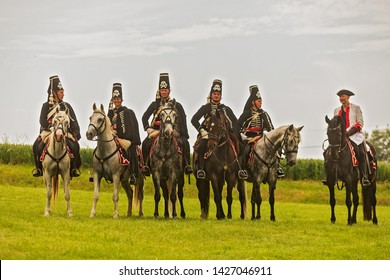 KOLÍN, CZECH REPUBLICK - June 16, 2019: The historical appearance of the Battle of Kolin between Prussian and Austrian troops played by amateur historical groups