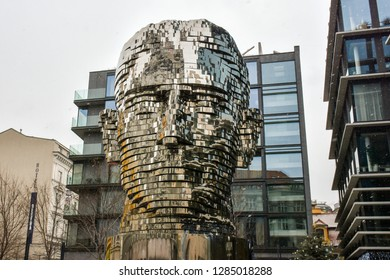 Czech republic,Prague,December-15,2018: Rotating Kinetic Head of Franz Kafka in Prague, Sculpture of Franz Kafka