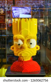 Czech republic,Prague,December-15,2018:Bart Simpson figure made from Lego in Lego store