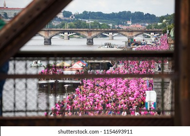 CZECH REPUBLIC,PRAGUE-JUNE 10: Participants and guests celebrate after the final ceremony speeches at Avon Walk for Breast Cancer on JUNE 10, 2012 in Prague, Czech Republic