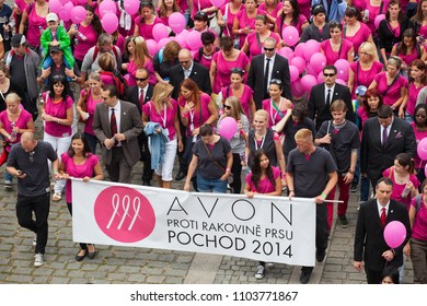 CZECH REPUBLIC,PRAGUE-JUNE 14: Participants and guests celebrate after the final ceremony speeches at Avon Walk for Breast Cancer on JUNE 14, 2014 in Prague, Czech Republic