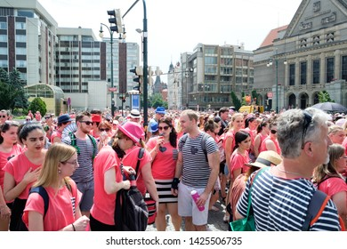 CZECH REPUBLIC,PRAGUE-JUNE 15,  Participants and guests celebrate after the final ceremony speeches at Avon Walk for Breast Cancer on JUNE 15, 2019 in Prague, Czech Republic