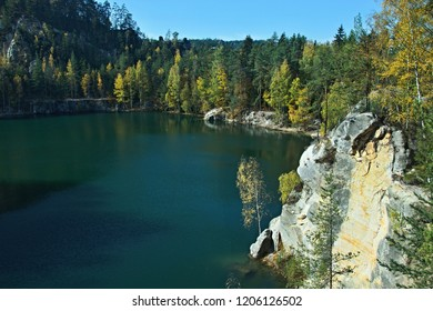 Czech Republic-view on Lake Sandstone in Adrspach Rocks