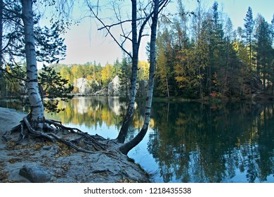 Czech Republic-view on Lake Sandstone in Adrspach Rock