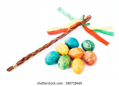 Czech rod with Easter eggs on white background
