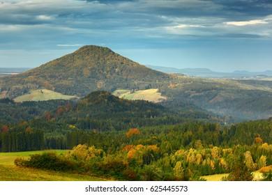 Czech typical autumn landscape. Hills and villages, fall forest. Morning fall valley of Bohemian Switzerland park. Landscape of Czech Republic, Ruzovy vrch, Ceske Svycarsko, Europe. - Shutterstock ID 625445573