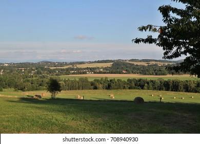 Czech typical summer landscape. Landscape of Czech Republic, Jirikov, Europe.