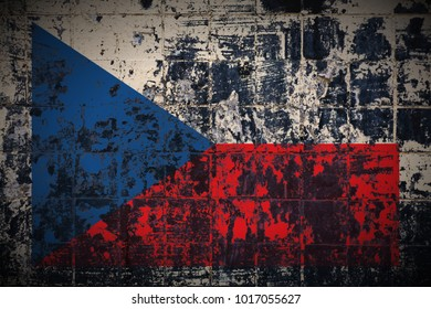 Czech_Republic flag painted on grungy_painted_wall texture background