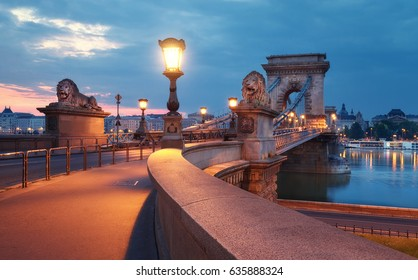 Czechenyi Chain Bridge in Budapest, Hungary, early in the morning. Focus on the bridge. This image is toned.