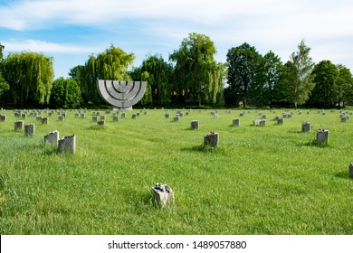 Terezín, Czechia - June 9 2019: The Jewish Cemetery in Terezin