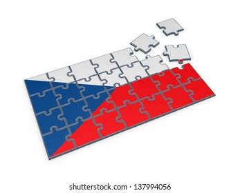 Czechian flag of puzzles.Isolated on white.3d rendered.