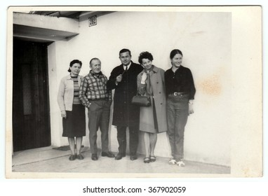 THE CZECHOSLOVAK  SOCIALIST REPUBLIC, 1970:s Photo shows a group of people in front of house, 1970s.
