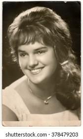 THE CZECHOSLOVAK SOCIALIST REPUBLIC - CIRCA 1960: Vintage photo shows young woman.