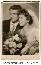 THE CZECHOSLOVAK SOCIALIST REPUBLIC - CIRCA 1970s: Vintage photo of newlyweds. Antique black & white photo.