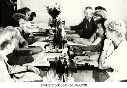 THE CZECHOSLOVAK SOCIALIST REPUBLIC - CIRCA 1980s: Vintage photo shows people during job meeting. Photography from communist era. Retro black & white  photography.