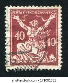 CZECHOSLOVAKIA - CIRCA 1920: stamp printed by Czechoslovakia, shows Czechoslovakia Breaking Chains to Freedom, circa 1920