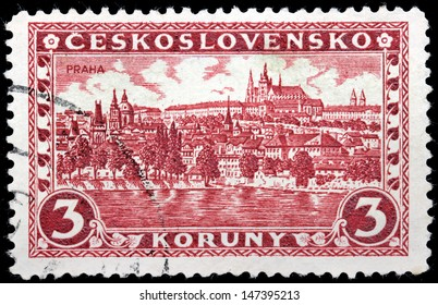 CZECHOSLOVAKIA - CIRCA 1926: A stamp printed by Czechoslovakia shows beautiful view of Hradcany district at Prague, circa 1926.