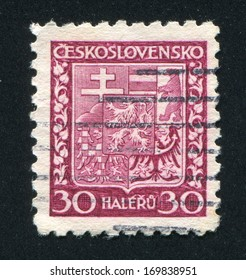 CZECHOSLOVAKIA - CIRCA 1928: stamp printed by Czechoslovakia, shows Coat of Arms, circa 1928