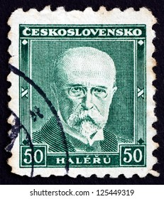 CZECHOSLOVAKIA - CIRCA 1930: a stamp printed in the Czechoslovakia shows Tomas Garrigue Masaryk, Politician, Sociologist and Philosopher, first President of Czechoslovakia, circa 1930