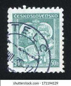 CZECHOSLOVAKIA - CIRCA 1935: stamp printed by Czechoslovakia, shows Saints Cyril and Methodius, circa 1935