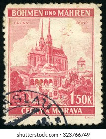 CZECHOSLOVAKIA - CIRCA 1939: post stamp printed in Czech (Ceskoslovensko) shows cathedral of st. Peter and Paul Brno; Scott 32 A6 1.50k red; circa 1939