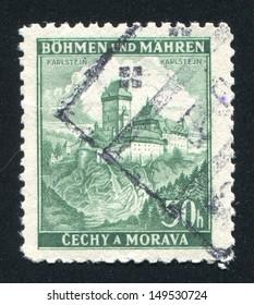 CZECHOSLOVAKIA - CIRCA 1939: stamp printed by Czechoslovakia, shows Karlstein Castle, circa 1939
