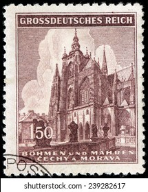 CZECHOSLOVAKIA - CIRCA 1945: A stamp printed by BOHEMIA AND MORAVIA (German Occupation Issues) shows Saint Vitus Cathedral in Prague, circa 1945