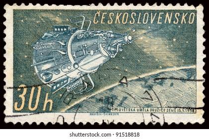 CZECHOSLOVAKIA - CIRCA 1951: A stamp printed in Czechoslovakia, shows Sputnik III, circa 1961