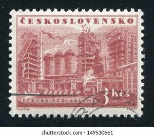 CZECHOSLOVAKIA - CIRCA 1953: stamp printed by Czechoslovakia, shows Iron works, circa 1953
