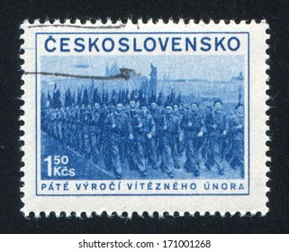 CZECHOSLOVAKIA - CIRCA 1953: stamp printed by Czechoslovakia, shows Militia, circa 1953