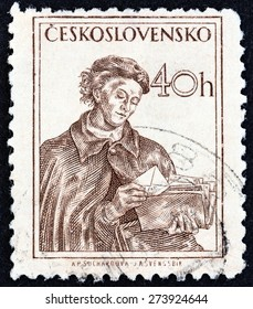 CZECHOSLOVAKIA - CIRCA 1954: A stamp printed in Czechoslovakia shows postwoman, circa 1954.