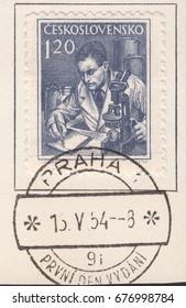 CZECHOSLOVAKIA - CIRCA 1954: A stamp printed by Czechoslovakia, shows Profession Scientist,scientist with microscope.Postmark Prague,circa 1954