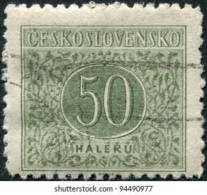 CZECHOSLOVAKIA - CIRCA 1955: A stamp printed in the Czechoslovakia, shows a porto-mark, circa 1955