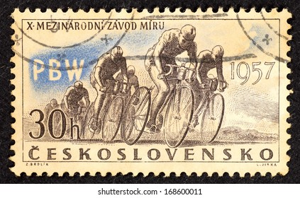 CZECHOSLOVAKIA - CIRCA 1957: Stamps printed in Czechoslovakia with image of racer cyclists to commemorate the 10th International Peace Race, circa 1957.