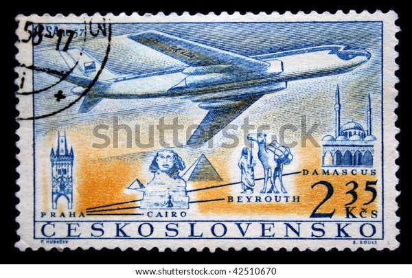 CZECHOSLOVAKIA - CIRCA 1957:A stamp printed in Czechoslovakia shows image of airplane flying from Praha to Cairo, Damascus and Beyrouth, series, circa 1957